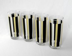 Vintage  Glass Tumblers Striped Yellow and Black  by Ocean Thailand Barware Set of 4