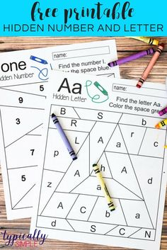 Free printables to practice letter and number recognition. Grab a few crayons and start coloring to find the Hidden Letter A and Hidden Number 1. Perfect for preschool or early elementary as a way to practice letter and number identification and fine moto