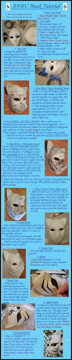 Papermache ANBU Mask Tutorial by AgentShoemaker . I was wondering how I could make a kitsune mask! Cosplay Diy, Halloween Cosplay, Kitsune Maske, Anbu Mask, Paper Mache Mask, Halloween Karneval, Naruto Cosplay, Akatsuki Cosplay, Costume Tutorial