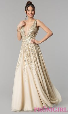 A-Line Deep V-Neck Prom Dress with Sequins