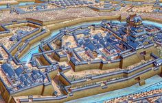 Osaka Castle in the year of 1614 by Stephen Biesty