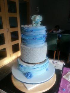 Christening cake . blue. ruffles. lace. Mrs B's classy cakes. facebook