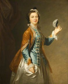 Eva Maria Veigel, Mrs David Garrick with a Mask, Johann Zoffany (attributed to) century, (c) National Trust, Polesden Lacey; Supplied by The Public Catalogue Foundation Mode Rococo, Riding Habit, Rococo Fashion, 18th Century Fashion, Art Uk, Female Portrait, Historical Clothing, Fashion History, Masks Art