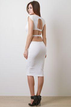 Belted Caged Back Midi Dress - Pulse Designer Fashion