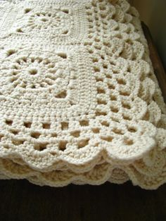 vintage handmade crochet knit blanket by littlebyrdvintage on Etsy