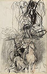 Eugène Delacroix, attributed to French, 1798-1863  Two Sketches; Armed Riders and Figure on the Ground, n.d.  Pen and brown ink, black and r...