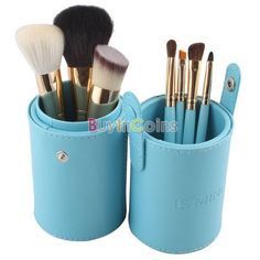 7 PCS Makeup Cosmetic Brushes Brush Set in Round Leather Case -- BuyinCoins.com