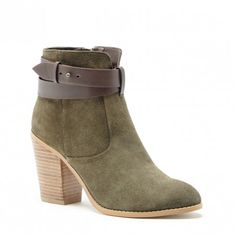 Khaki Suede Heeled Bootie | Kelsita | Free Shipping on Orders $50+