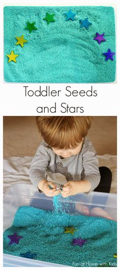 Toddler Seeds and Stars Sensory Bin- Buy unfinished wood stars and Sesame Seeds. Sensory Tubs, Sensory Boxes, Sensory Activities, Sensory Play, Infant Activities, Activities For Kids, Kindergarten Sensory, Motor Activities, Toddler Play