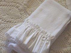 White Cotton Flour Sack Tea Towel with White Striped 12.00 by MarthyMay
