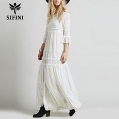 2017 new sexy Bohemia embroidery women's white ruffles elegant sweet long loose dress people popular party maxi dresses