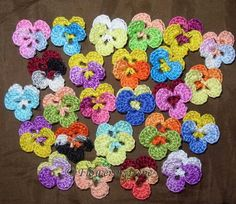 Crochet Flowers: I love pansies!