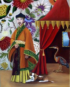 Fine art print- The Emperor's New King-Fine Art Painting by Catherine Nolin -Chinoiserie theme