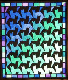 Charlee's Gallery of Quilts, Pattern Tessellating Tabbies by Jinny Beyer. Quilting Projects, Quilting Designs, Patchwork Designs, Cat Quilt Patterns, Quilt Modernen, Animal Quilts, Foundation Paper Piecing, Cat Pattern, Barn Quilts