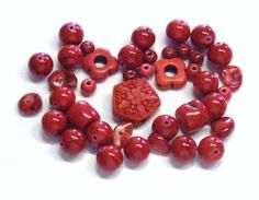 Mixed Lot of Stones in Bright Red by BeadsFromHaven on Etsy, $2.99
