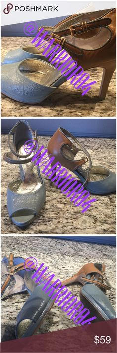 """Preloved Anthropologie LilyHeels Miss Albright 6.5 Preloved Anthropologie LilyHeels Miss Albright 6.5 Doubke strap d'orsay color block heels with adjustable double straps, leather upper Inside with a 3.5"""" heel Style 26877266 Anthropologie Shoes Heels"""