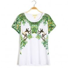 Short Sleeves casual T-shirts With Animal Printing