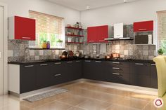 Innovative & New Kitchen Cabinet Design: Modular Kitchen New Kitchen Designs, Kitchen Room Design, Kitchen Cabinet Design, Modern Kitchen Design, Kitchen Layout, Interior Design Kitchen, Interior Ideas, Moduler Kitchen, Kitchen Modular