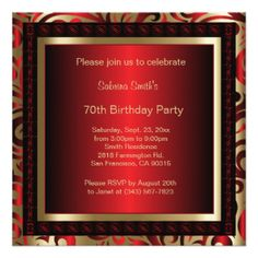 70th Birthday Party | DIY Text 13 Cm X 13 Cm Square Invitation Card