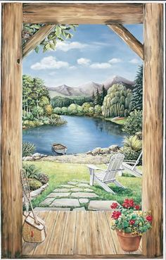 We offer for sale a large selection of wallpaper murals, wall murals and Lakeside View Accent Mural (Cabin Doorway View) in all sizes. Window Mural, Door Murals, Mural Wall Art, Mural Painting, Lakeside View, Garden Mural, Of Wallpaper, Landscape Paintings, Street Art