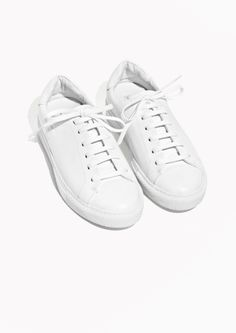 & Other Stories image 2 of Leather Lace-Up Sneaker in White