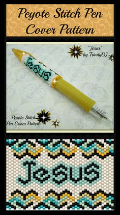 BP-PEN-011 - 2015-29 - Jesus Pen - Even Count Peyote Stitch Pen Cover Pattern - One of a Kind - Fashion Art - DIY Instructions