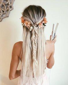 long, hair, pretty, elegant, flowers