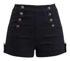 These pinup style high waist shorts are a must have! The fabrication is a black denim with stretch. Antique gold anchor button details top these shorts off making them our summer favorite.