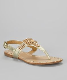 Take a look at this Gold Amy Embellished T-Strap Sandal by French Kiss on #zulily today!