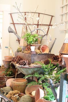 Wonderful display for the garden ~ Really love all this stuff ... to shop, not sell!