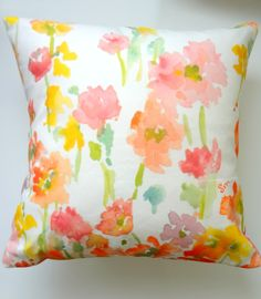 Watercolor Flowers on pillow.