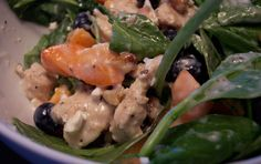 Spinach Salad with Chicken, Apricots and Feta Dressing