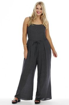 Wide Strap Jumpsuit  Style No: JS011 Pinspot Pin spot Rayon Wide Leg Summer Jumpsuit. This Jumpsuit has wide straps with a triangle shape detail at the back. This Jumpsuit has an attached thin front tie self belt. Wear it with a tee underneath or without on hot Summer days.  #dreamdiva #dreamdivafiles #plussize #fashion