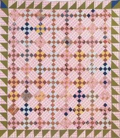 Nine-patch, 1865. Maker unknown.   Great quilt to take along to work on. Fun for reproduction scraps
