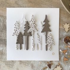 PACK 50 GOLD DIE CUT CHRISTMAS TREES FOR CARDS AND CRAFTS