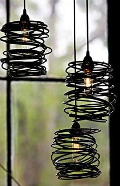 SPIRAL NEST, decided to go with this type wire shade to help with hiding the ugly energy saving bulbs. Wiring them as indivual lamps with a hidden power strip so they be moved around easily. #lamp #shade