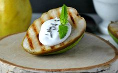 This grilled pear is stuffed with a lavender oil-infused coconut whipped cream giving it a slightly earthy, floral note that is absolutely delicious.
