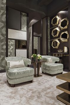 oasis interior design for living ambiances is based on a coordinated project inspired by art deco. Luxury Chairs, Luxury Sofa, Luxury Living, Italian Interior Design, Luxury Interior Design, Home Decor Furniture, Furniture Design, Drawing Room Interior, Drawing Rooms