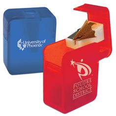 Our Rectangular Pencil Sharpener is a great way to promote your local school either as a giveaway or a sale item in your bookstore.
