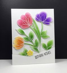 spring flowers: Simon Says Stamp, SSS, #SSSFAVE, embossed, sponged, by beesmom at splitcoast