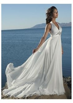 Wedding dress online shop - chiffon sexy v neck with halter and cross straps hanging back waist chiffon with chapel train summer wedding dress wm 0215