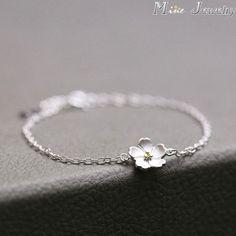 925 Sterling Silver Bracelets Pure Sterling Silver 925 Cherry Blossoms Bracelets Jewelry Pulseras Pulseira #SilverJewelry