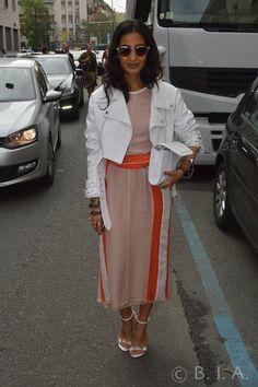 White jacket ,white& orange dress, white cluch bag and sandal - Milan  SpringSummer 15