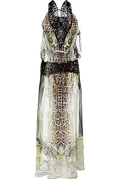 ROBERTO CAVALLI Natural Animal Print Silk Gown with Leather Trim