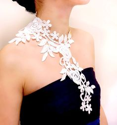 large floral Lace bib necklace  hand dyed grey  by LaceFancy