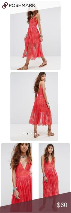 NWT Free People Free People Matchpoint Midi Dress PRODUCT DETAILS Lace dress by Free People Floral lace Mini-length lining Plunge neck Belted waist Split leg Scalloped hem Low scoop back Regular fit - true to size Machine wash 61% Cotton, 39% Nylon Free People Dresses Midi