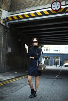 Look of the Day.295: A walk around Shoreditch by Gala Gonzalez wearing Zara Dress, Topshop Jumper, Louis Vuitton Bag, Celine Sunglasses and Zadig and Voltaire boots
