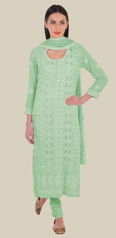 Aqua Green Hand Embroidered Chikankari with kamdaani Suit
