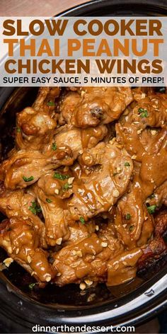 Could You Eat Pizza With Sort Two Diabetic Issues? Slow Cooker Thai Peanut Wings Are A Super Easy Asian Twist On Traditional Wings Crockpot Asian Recipes, Easy Crockpot Chicken, Chicken Wing Recipes, Slow Cooker Recipes, Cooking Recipes, Crockpot Wings Recipe, Slow Cooking, Asian Chicken Wings, Thai Peanut Chicken