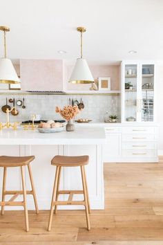 Dreamy white kitchen with open shelving and white cone pendant lights - kitchen remodel - white kitchen - kitchen decor - kitchen lighting - kitchen stools - modern kitchen Living Room Kitchen, Kitchen Decor, Kitchen Design, Kitchen Ideas, Kitchen Inspiration, Room Inspiration, Home Design, Interior Design, Design Ideas